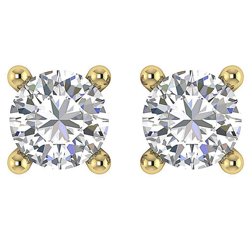 Yellow Gold Genuine Diamond Earring Top View-DST43-0.60
