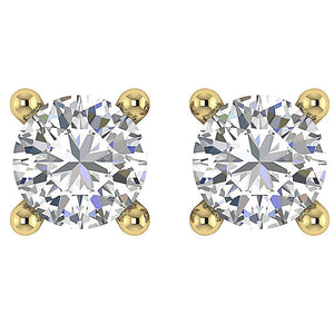 Solitaire Studs Earrings 14k / 18k Gold Natural Round Cut Diamond I1 G 0.60 Ct