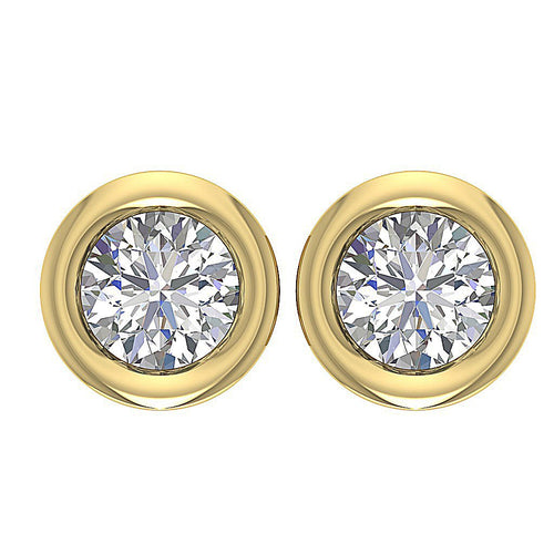 Natural Diamond 14k-18k Yellow Gold Earring-DST45-0.75CT