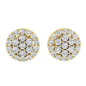 Designer Halo Solitaire Studs Earrings 14k/18k Solid Gold Natural Diamonds SI1 G 0.90 Ct
