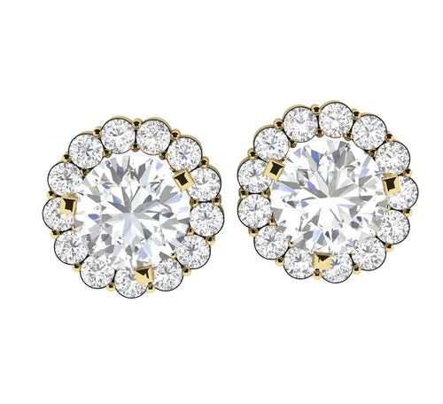 Genuine Diamond Yellow Gold Earring-E-708-1