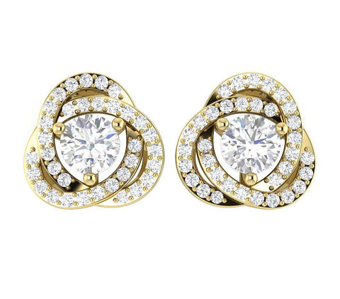 14k/18k White Gold Natural Diamond I1 G 1.50Ct Removable Jacket Halo Solitaire Stud Earring 12.70MM