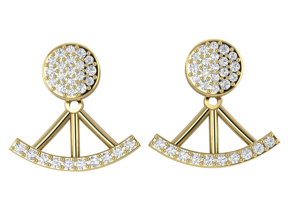 14k/18k Solid Gold Natural Diamonds I1 G 0.40 Ct Removable Jacket Studs Earrings Prong Set 13.78MM