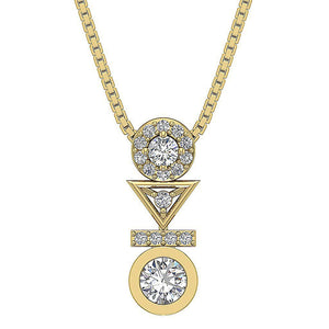 Yellow Gold Round Diamond Fashion Pendants-DP403