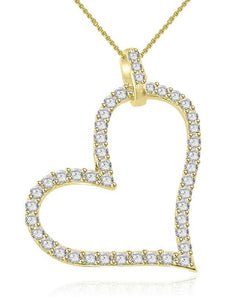 Yellow Gold Diamond Heart Pendants-P-403