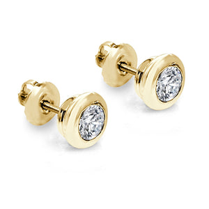 Side View 14k-18k Yellow Gold Natural Diamond Earring-DST101-0.50CT