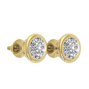 Bezel Set Solitaire Studs Earrings 14k / 18k Gold Round Diamonds I1 G 1.40Ct