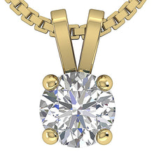 Load image into Gallery viewer, Solitaire Pendants 14k-18k Yellow Gold Diamond-DP81-0.50-1