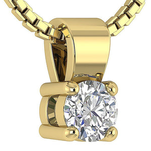14k/18k White Yellow Rose Gold Solitaire Pendants I1 G 0.25 Ct Natural Diamonds Prong Set 3.75 MM