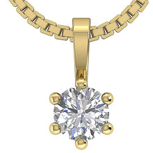 Load image into Gallery viewer, Round Cut Diamond Yellow Gold Solitaire Pendants-DP90-0.25-1