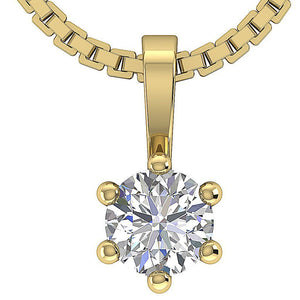 Round Cut Diamond Yellow Gold Solitaire Pendants-DP90-0.25-1