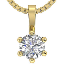 Load image into Gallery viewer, Natural Diamond Solitaire Pendants 14k-18k Yellow Gold-DP90-0.50-1