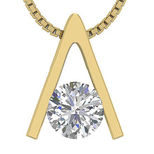 Load image into Gallery viewer, I1 G 0.50 Ct 14k/18k White Yellow Rose Gold Solitaire Pendants Round Cut Diamonds Bar Set 5.50 MM