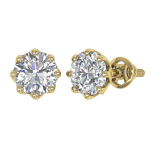 Screw Back Yellow Gold Earrings-DST102