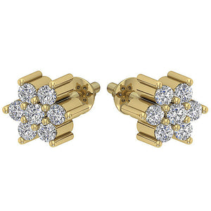 Designer Studs Earrings Natural Diamond I1 G 0.25Ct 14k/18k White Yellow Rose Gold