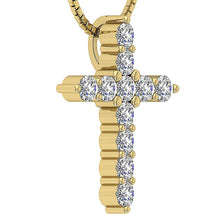 Load image into Gallery viewer, Side View Cross Pendants 14k-18k Yellow Gold Round Cut Diamond-P-589