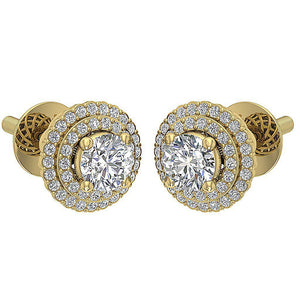 Designer Halo Solitaire Studs Earrings I1 G 1.50 Ct 14k/18k Solid Gold Round Diamonds Prong Set