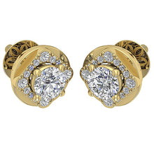 Load image into Gallery viewer, Natural Diamond 14k-18k Yellow Gold Earring-DE170