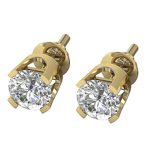 Screw Back Natural Diamond Gold Earring-DST16-0.30-4