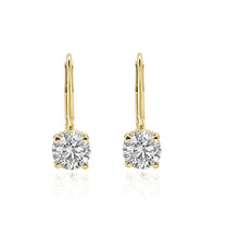 Load image into Gallery viewer, Lever Back Solitaire Stud Earring Natural Diamonds I1 G 1.10Ct 14k/18k Yellow Gold