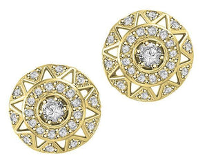 Halo Solitaire Studs Earrings 14k/18k Solid Gold Natural Diamonds SI1 G 0.65 Ct Pave Set