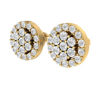 Load image into Gallery viewer, Designer Halo Solitaire Studs Earrings 14k/18k Solid Gold Natural Diamonds VS1 E 0.90 Ct