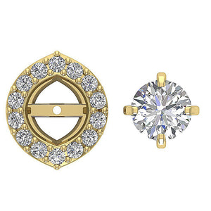 Genuine Diamond Yellow Gold Earring-E-782-7