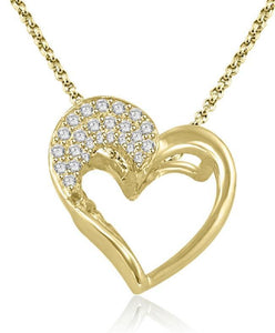 Heart Pendants Round Cut Diamond 14k/18k White Yellow Rose Gold I1 G 0.30 Ct