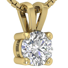 Load image into Gallery viewer, 14k/18k White Yellow Rose Gold I1 G 1.00 Ct Solitaire Pendants Round Cut Diamonds Prong Set 6.29 MM