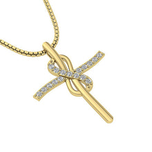 Load image into Gallery viewer, 14k-18k Yellow Gold Round Cut Diamond Designer Pendants-P-764