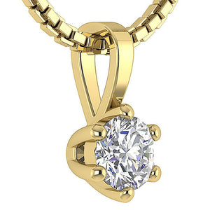 Solitaire Pendants Yellow Gold Round Cut Diamond-DP90-0.25-7