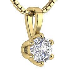 Load image into Gallery viewer, Round Cut Diamond 14k-18k Yellow Gold Solitaire Pendants-DP90-0.50-7