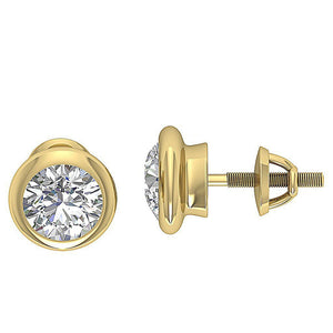 14k-18k Yellow Gold Solitaire Studs Earring-DST101-1.40CT