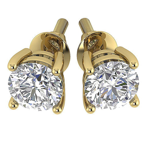 SI1 G 0.55 Ct Solitaire Studs Earrings 14k/18k Yellow Gold Round Cut Diamond