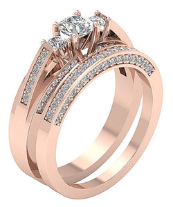 Design Bridal Ring Set 14k  Rose Gold