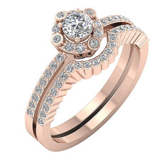 Load image into Gallery viewer, Side View 14k Solid Gold Designer Bridal Ring Set
