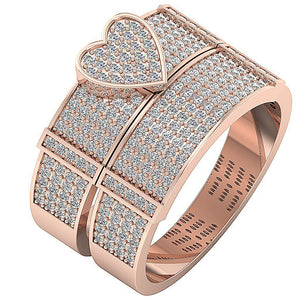 Natural Diamond Ring Set 14k Rose Gold