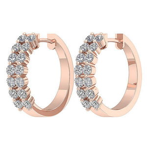 Round Diamond Large Hoop Earring 14k Gold