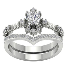 Load image into Gallery viewer, Round Diamond Bridal Ring Set 14k White Gold