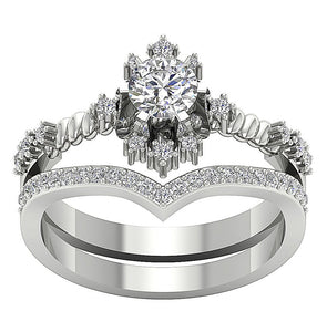 Round Diamond Bridal Ring Set 14k White Gold