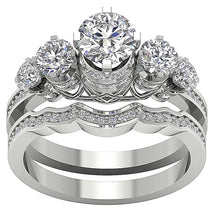 Load image into Gallery viewer, Designer Bridal Genuine Diamonds Ring Set