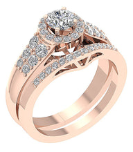 Load image into Gallery viewer, Genuine Diamond Bridal Ring Set 14k Rose Gold