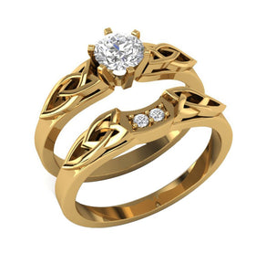 Round Diamond Bridal Ring Set 14k Yellow Gold