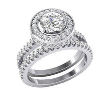 Load image into Gallery viewer, Designer Genuine Diamonds Bridal Ring Set 14k White Gold
