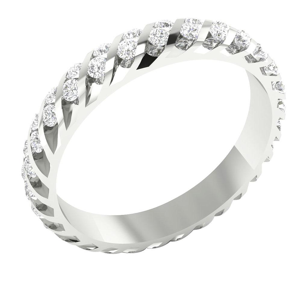 Unique Style Eternity Ring 14k White Gold