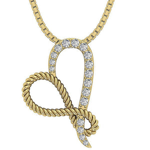 Round Diamond Pendant 14k Yellow Gold
