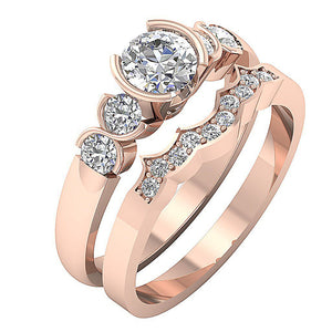Round Diamond Bridal Ring Set 14k Solid Gold
