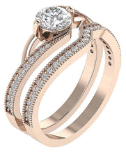 Load image into Gallery viewer, Designer Bridal Ring Set 14k  Rose Gold