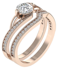 Designer Bridal Ring Set 14k  Rose Gold