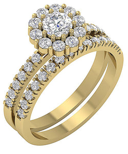 Designer Bridal Ring Set 14k  Yellow Gold